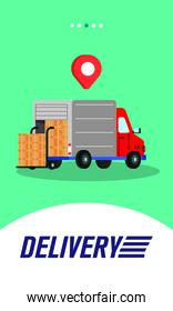 truck delivery service with boxes and pin location