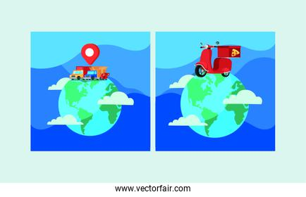 trucks and motorcycles in world planet delivery