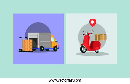 delivery scooter motorcycle and truck with boxes