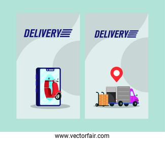 delivery motorcycle and truck in smartphone