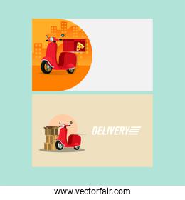 pile boxes and pizza with motorcycle delivery service