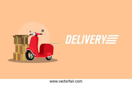 pile boxes carton with motorcycle delivery service
