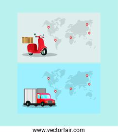 delivery motorcycle with truck in earth planet maps