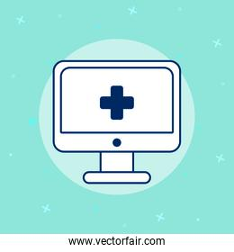 desktop with telemedicine technology icons