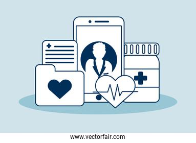 smartphone with telemedicine technology and medical icons