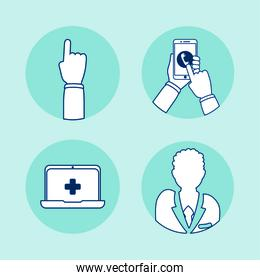 smartphone and laptop with telemedicine technology