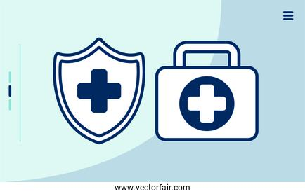 medical kit and shield icons