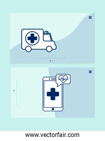 smartphone with telemedicine technology and ambulance