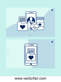 smartphone with telemedicine technology set icons