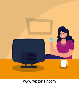smiling woman watching tv stay at home campaign