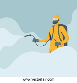 man cleaner with biosafety suit character
