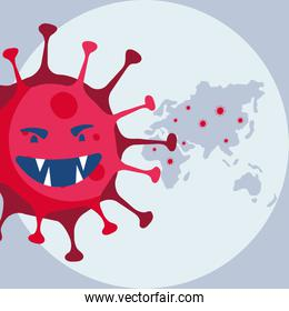 covid19 pandemic particle with world planet earth