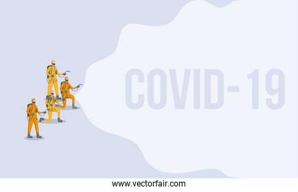 men cleaners with biosafety suits covid19