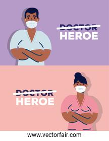 afro doctors couple using safety masks for covid19
