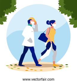 Woman and man avatars with masks outside vector design