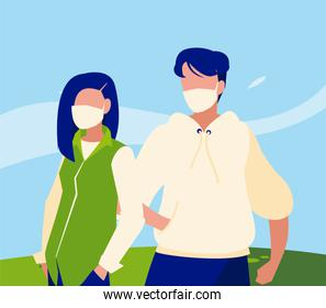 Woman and man avatar with mask outside vector design