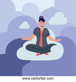 elegant business woman in lotus position on the cloud