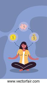 businesswoman in lotus position with economy icons