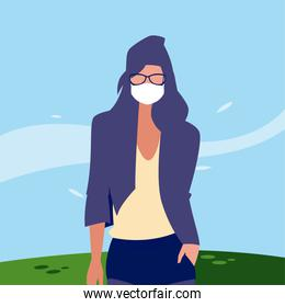 Woman avatar with mask outside vector design