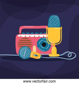 radio music player and microphones