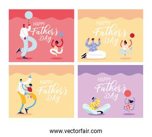 set of cards of the happy fathers day