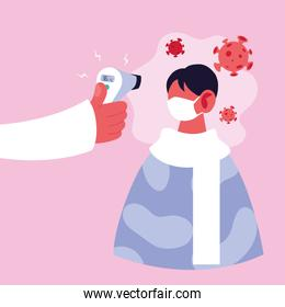 doctor measures the temperature of a man in a medical mask, coronavirus prevention