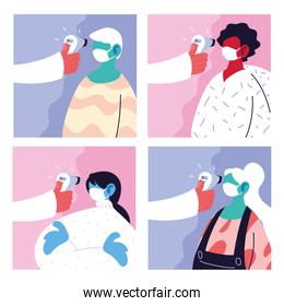 poster with a doctor what measures the temperature of people