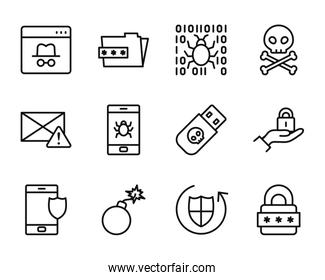 bomb and cyber security icon set, line style