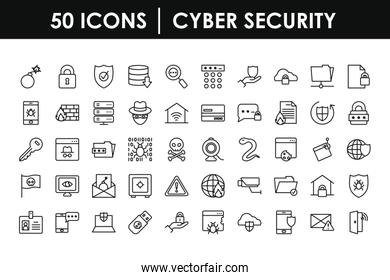 cyber security icon set, line style