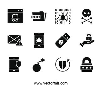bomb and cyber security icon set, silhouette style