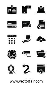 laptop computer and cyber security icon set, silhouette style