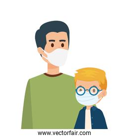 father with son using face mask