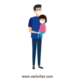 father with daughter using face mask