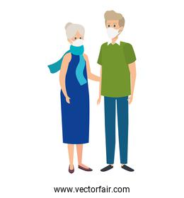grandparents couple using face mask