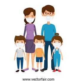 parents with children using face mask