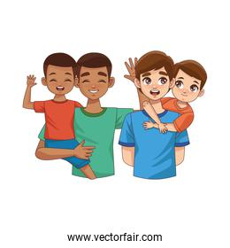 interracial fathers lifting sons characters