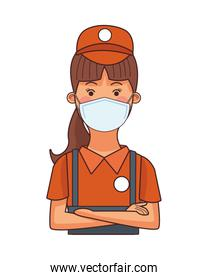 restaurant attendant worker profession using face mask