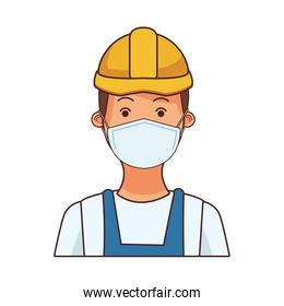 builder worker profession using face mask
