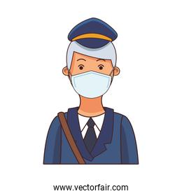 courier worker profession using face mask