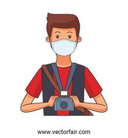 photographer worker profession using face mask