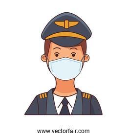 pilot worker profession using face mask