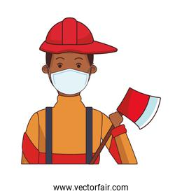 firefighter worker profession using face mask
