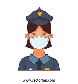 female police worker profession using safety mask