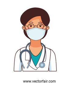 female doctor worker profession using face mask