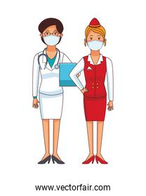 female doctor and receptionist using face mask
