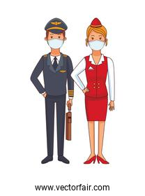 pilot and receptionist using face masks