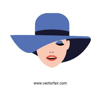 beautiful woman with hat fashion style