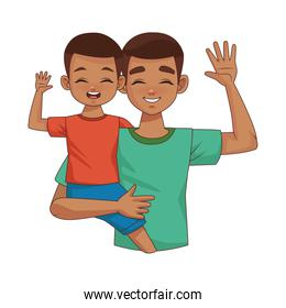 afro father lifting son parents characters