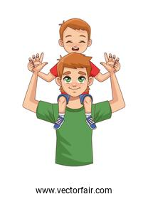 father lifting son parents characters