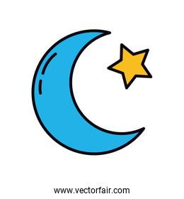 EID mubarak concept, crescent moon and star icon, line and fill style
